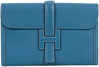 One Kings Lane Vintage Hermès Blue Jean Swift Jige Clutch