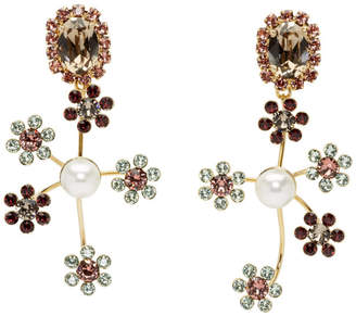 Erdem Gold Floral Cluster Drop Earrings