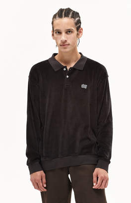 Obey Saucer Velour Long Sleeve Polo Shirt