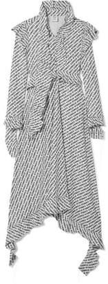 Vetements Ruffled Printed Jersey Dress - Black