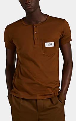 Givenchy Men's Logo-Pocket Cotton Henley - Brown
