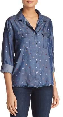 Billy T Heart Print Button-Down Chambray Shirt