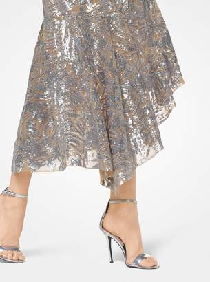Michael Kors Leaf Sequined Tulle Asymmetrical Dress