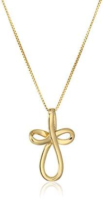 Gold-Plated Sterling Silver Open Loop Cross Pendant Necklace