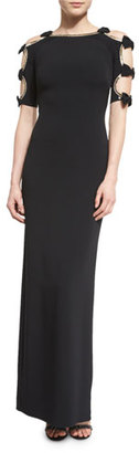 Jenny Packham Bow-Sleeve Column Gown W/Cutouts, Black $2,875 thestylecure.com