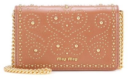 Miu MiuMiu Miu Embellished leather shoulder bag