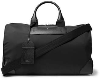 Montblanc Sartorial Jet Cross-grain Leather-trimmed Shell Duffle Bag - Black