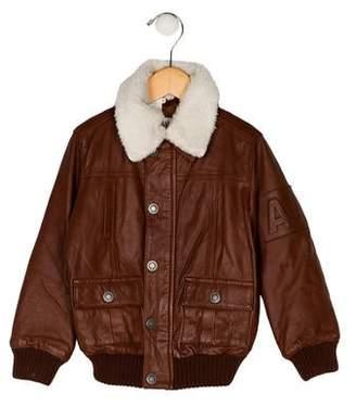 Armani Junior Girls' Collar Leather Jacket