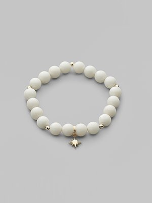 Mizuki White Coral Bead Starburst Bracelet