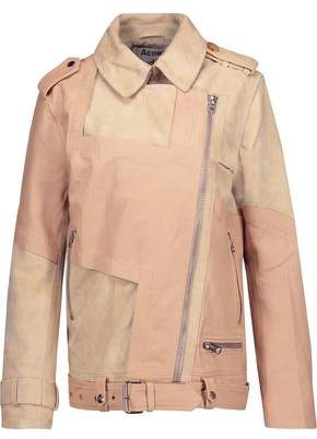 Acne Studios Heather Paneled Textured-Leather And Suede Biker Jacket