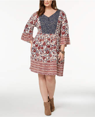 Style&Co. Style & Co Plus Size Mixed-Print Flutter-Sleeve Peasant Dress, Created for Macy's