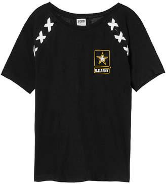 PINK Army Crop Lace-Up Raglan Sleeve Tee