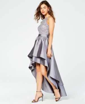 Emerald Sundae Juniors' Lace-Top Asymmetrical-Skirt Gown, Created for Macy's