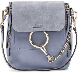 Chloé Small Faye Backpack Calfskin & Suede in Washed Blue | FWRD