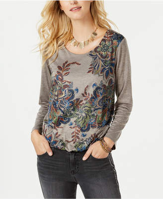 Style&Co. Style & Co Printed Bubble-Hem Top