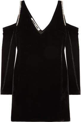 McQ Cold-shoulder Embellished Velvet Mini Dress - Black