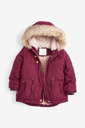 Next Girls Berry Shower Resistant Parka Jacket (3mths-7yrs) - Purple