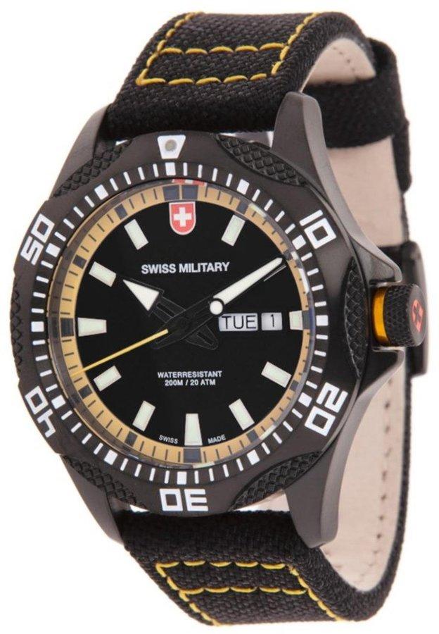 Swiss Military Men's Army 44mm Canvas Band Steel Case Swiss Quartz Watch 27441