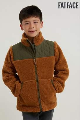 Fat Face Boys FatFace Tan Borg Zip Through Sweater - Brown