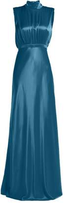 Saloni Fleur Silk Satin Gown - Womens - Blue