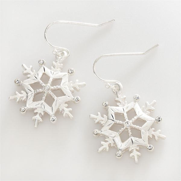 Silver-Tone Crystal Snowflake Drop Earrings