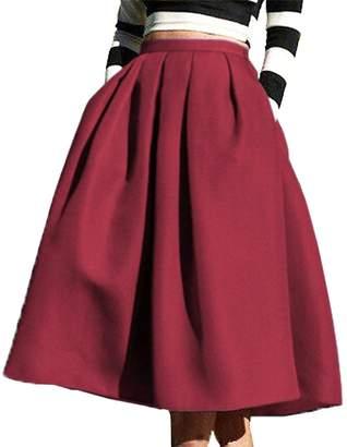 5b2620c5f91e55 N. FACE FACE Women's High Waisted A line Street Skirt Skater Pleated Full  Midi Skirt