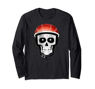 Funny Day of the Dead Skull in a Red Bike Helmet Long Sleeve T-Shirt
