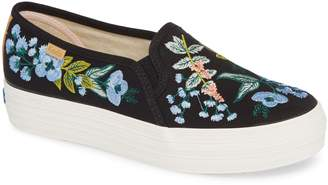 Keds R) x Rifle Paper Co. Triple Decker Embroidered Slip-On Sneaker