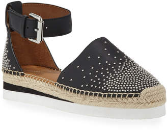See by Chloe Studded Flat Ankle Espadrilles