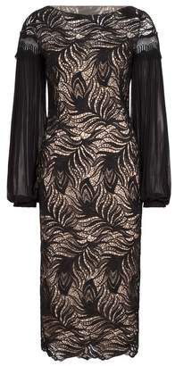 Amanda Wakeley Black Paisley Lace Midi Dress