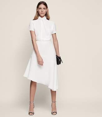 Reiss ZINC HALTERNECK MIDI DRESS Off White