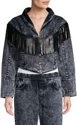 Caroline Constas Leather-Fringe Denim Jacket