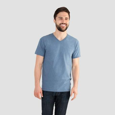 Fruit of the Loom Select Men's V-Neck T-Shirt - Durango Blue