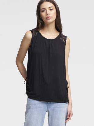 DKNY Jersey Tank With Lace Panels