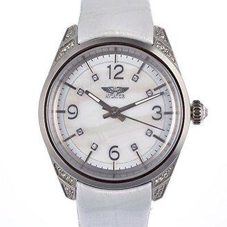 Aviator (アビアートル) - Aviator avw9010l66母のパールダイヤルホワイト革レディース時計