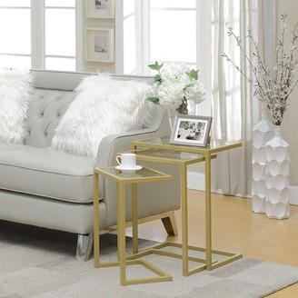 Carolina Chair and Table Trinity Nesting Glass Top Table Set