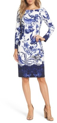 Women's Eliza J Print Long Sleeve Sheath Dress $138 thestylecure.com