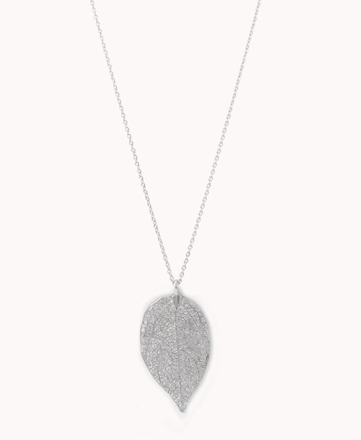 Forever 21 Etched Leaf Necklace