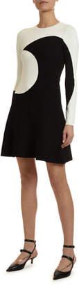 Valentino Long-Sleeve Moon-Inlay Dress