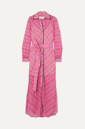 Victoria Victoria Beckham Victoria, Victoria Beckham - Checked Cotton And Silk-blend Midi Dress - Pink