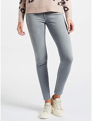 7 For All Mankind High Waist Skinny Slim Illusion Jeans, Grey