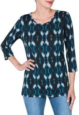 Haggar Three-Quarter Sleeve Crossknit Tunic Top