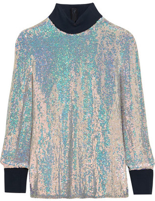 3.1 Phillip Lim - Jersey-trimmed Sequined Silk Turtleneck Top - Silver