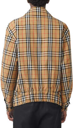 Burberry Men's Shenmore Zip-Front Archive Scarf-Print Jacket