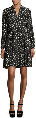 Kate Spade New York Long-Sleeve Silk Chiffon Ink-Blot Dress, Black $398 thestylecure.com