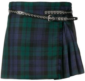 Miu Miu pleated plaid mini skirt