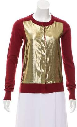 Diane von Furstenberg Metallic Accented Knit Cardigan