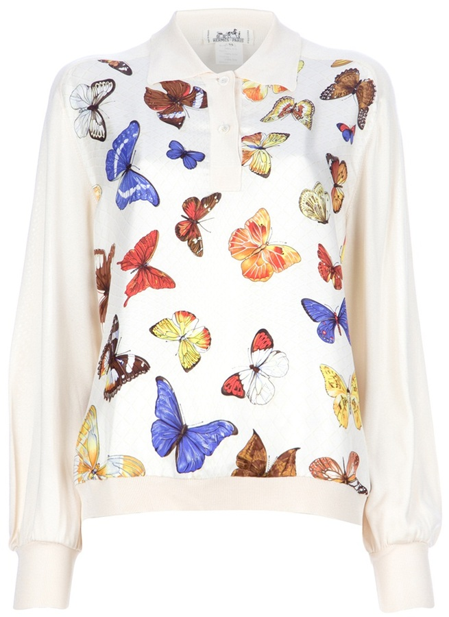 Hermes Vintage butterfly shirt