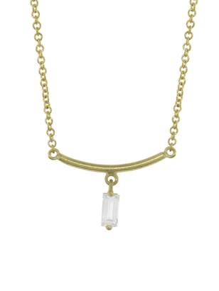 Tate Diamond Rectangle Arc Necklace - Yellow Gold