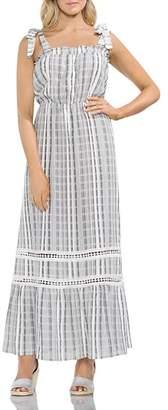 Vince Camuto Tie Strap Jacquard Plaid Maxi Dress